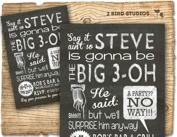 Surprise party invitation adult surprise birthday by 2birdstudios