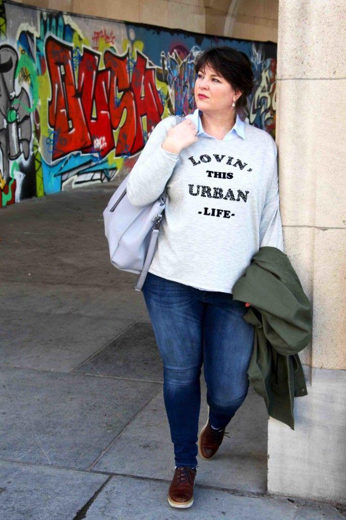 Zizzi, sweater, grote maten, grijze trui