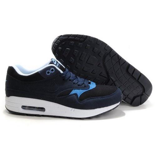 Nike Air Max 87 Men Black Glass Blue Shoes $63.8