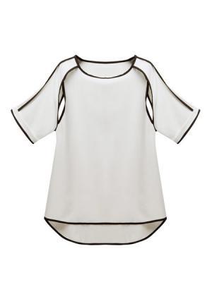 European Style Fashion Characteristics Hollow-level Black edge Chiffon Shirt
