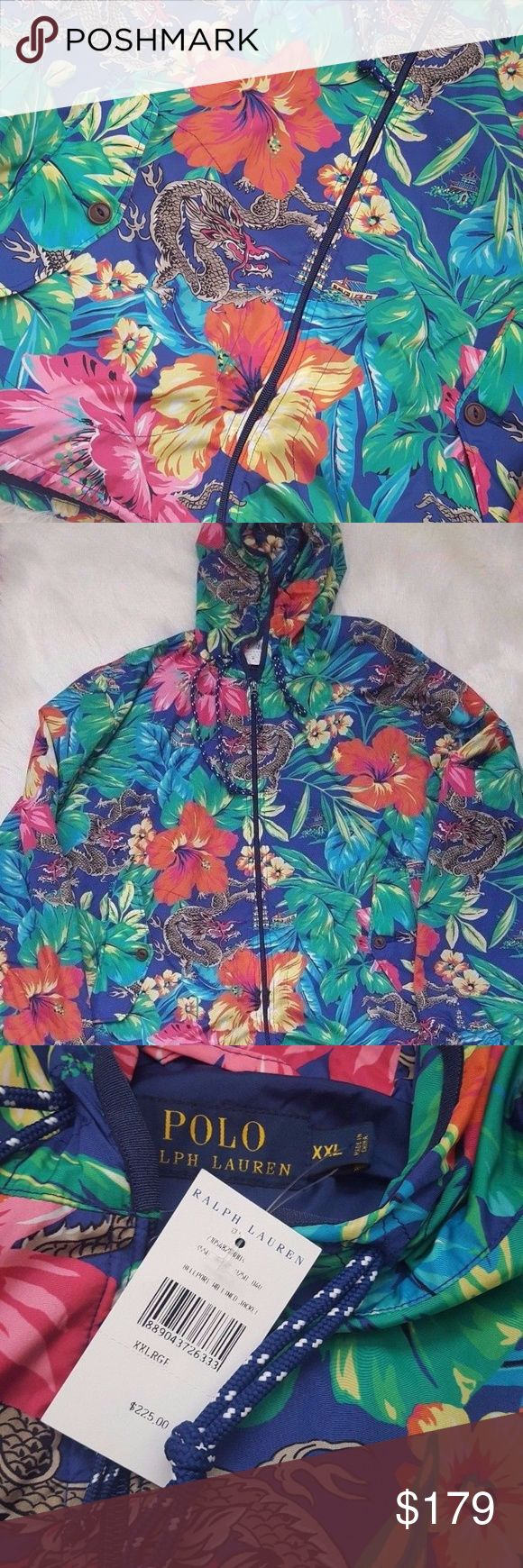Men's Polo Ralph Lauren SwimWear Tropical Jacket RARE Men's Polo Ralph Lauren SwimWear Tropical Chinese Dragon Hibiscus Flower Jacket Hoodie   Size: XXL  100% Authentic   100% Nylon  Rare Tropical Chinese Dragon Design that is hard to Find   Please see Pictures for EXACT Item you will RECEIVE!  Thanks for Looking Polo by Ralph Lauren Jackets & Coats Windbreakers