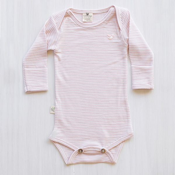 organic merino bodysuit - Rose stripe.  This dusty rose will go with any colour and the softness just makes it the perfect inner layer. So little girls can still wear a tutu and be warm and comfy on the inside.