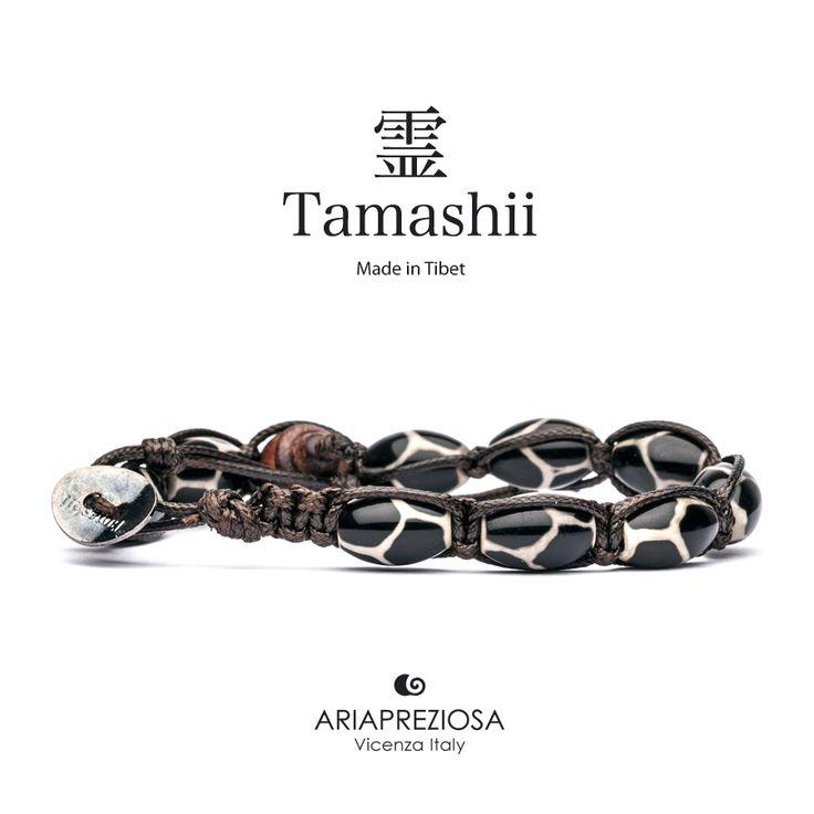 """Tamashii - Serie Speciale BkraShi realizzato con pietre naturali Onice con disegno tradizionale a mano dal significato """"INTELLIGENZA"""""""