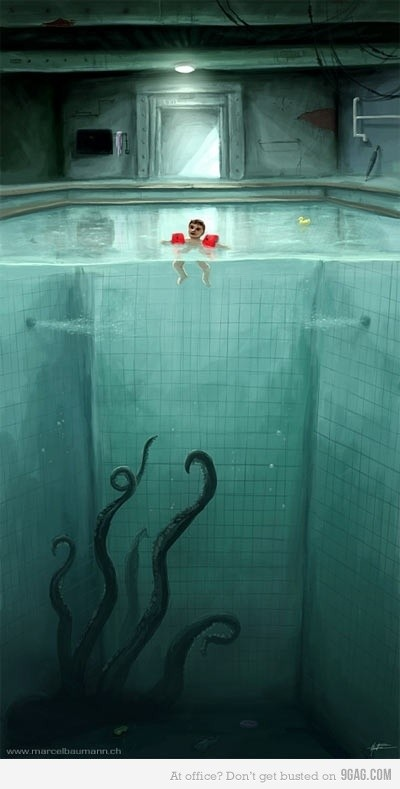 A favorite work of mine - one of my biggest fears I have yet to conquer is deep water so this counts as a horror piece to me. I value the openness and bareness depicted in the pool. I feel inspired to create a piece that represents a deep fear of my own. #U4APSA