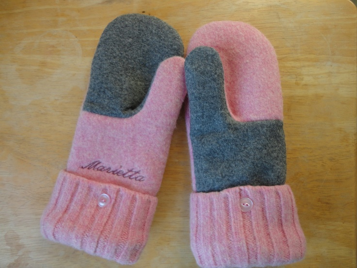 She hugged her mittens with love. Personalize your custom mittens with a name.