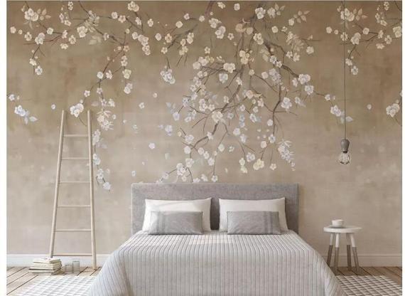 Hanging Cherry Blossoms Flowers Tree Wallpaper Wall Mural Etsy Wall Wallpaper Tree Wallpaper Wallpaper Living Room