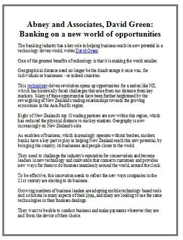 Abney and Associates, David Green: Banking on a new world of opportunitieshttp://www.nzherald.co.nz/technology-and-innovation/news/article.cfm?c_id=1501186&objectid=11212972