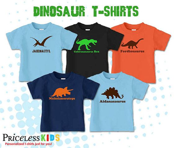 Personalized dinosaur tshirt featuring by PricelessKids on Etsy, $16.00