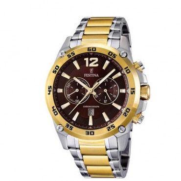 F16681/3 Ανδρικό σπορ quartz ρολόι FESTINA χρονογράφος, με καφέ καντράν & μεταλλικό μπρασελέ | Ανδρικά ρολόγια FESTINA ΤΣΑΛΔΑΡΗΣ στο Χαλάνδρι #Festina #multifunction #μπρασελε #ρολοι