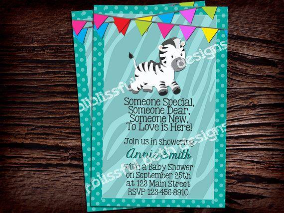 ZEBRA BABY SHOWER Invitation Personalized by BlissfulBethDesigns, $11.00