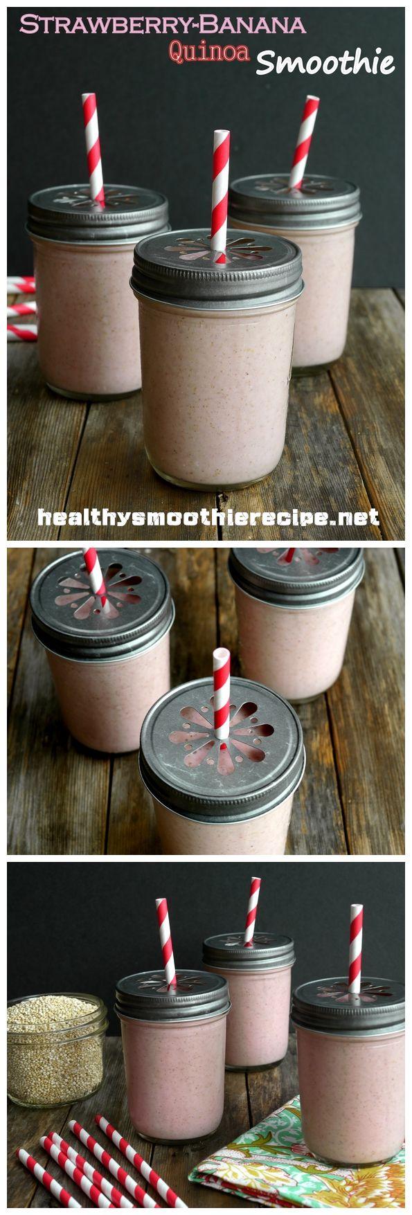 Strawberry-Banana Quinoa #Smoothie #Recipe