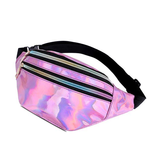 Ladies Women's New Iridescent Hologram Holographic Metallic Fashion Pocket Belt