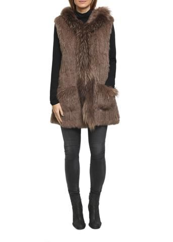Taupe Rabbit Fur Gilet 3/4 Length Raccon Trimmed by Jessimara