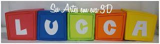 su artes em eva: Cubos com nome, enfeite para decoração tema Pocoyo...
