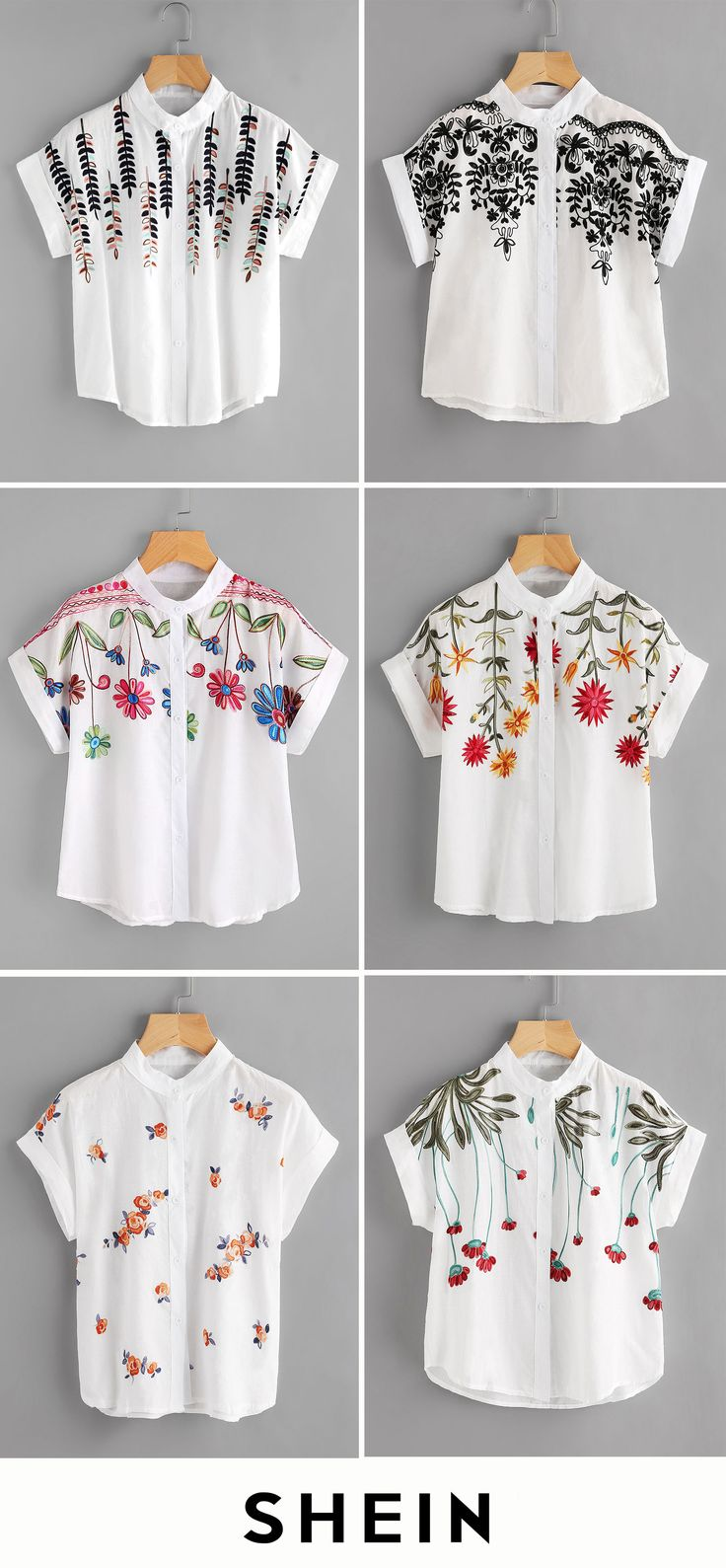 Embroidery Cuffed Blouses