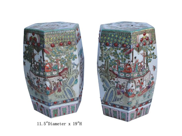 Unique Pair Chinese Antique Hand Paint Hexagonal Porcelain Garden Stool WK2432  sc 1 st  Pinterest : chinese porcelain stools - islam-shia.org