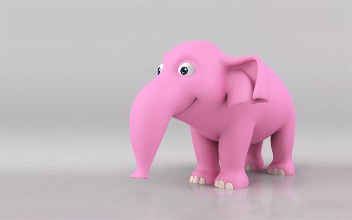 Télécharger fonds d'écran 3d éléphant rose, l'art, la 3d, les animaux, éléphants, des animaux mignons
