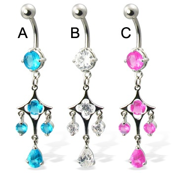 Belly button ring with dangling gems