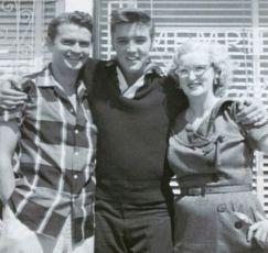 Elvis with Sun Records founder, Sam Phillips and Marion Keisker. (September 23, 1956)