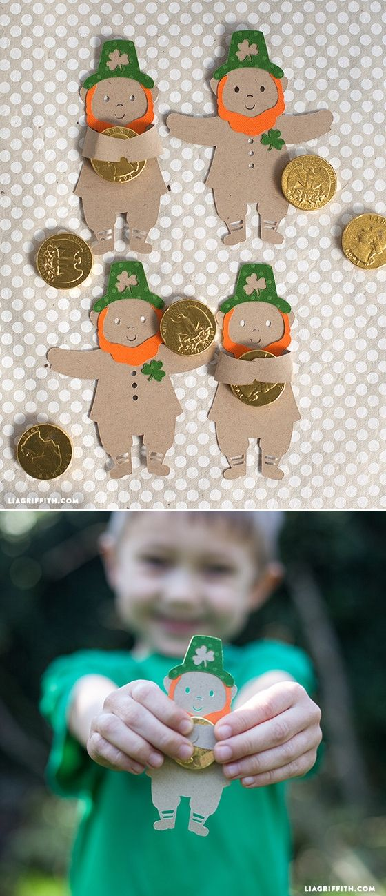 St Patrick's Day Crafts - Leprechaun Candy Hugger at www.LiaGriffith.com