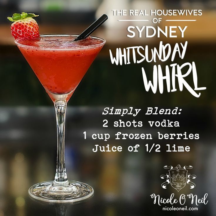 The Whitsunday Whirl Cocktail - inspired by The Real Housewives of Sydney's Episode 4, this cocktail combines mixed frozen berries with vodka and fresh lime juice for a delicious summery treat.