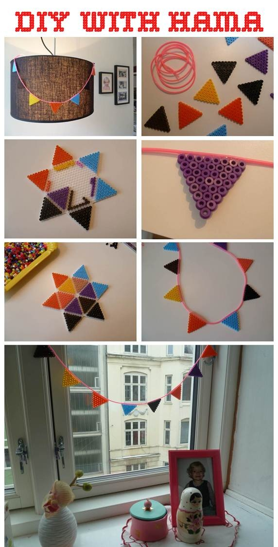 DIY with HAMA beads, COOL!! I do love me some bunting.