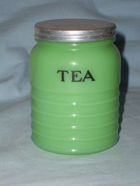 Jadite Green Tea Canister by AtticPicker on Etsy