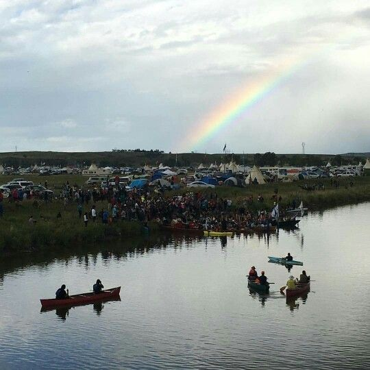 Cannonball River Standing Rock...more water protectors joining Sioux... They came by canoe from Bismark North Dakota.