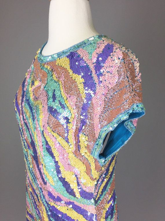 The Meet Me At Dusk 80s Pastel Sequin Party Dress by RIPandROSE