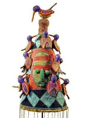 Africa | Yoruba Beaded Crown.  Nigeria | Traditionally, Yoruba crowns were worn by the king, or Oba, in public ceremonies. They were embellished with symbolic designs. Beads were signs of wealth and status.