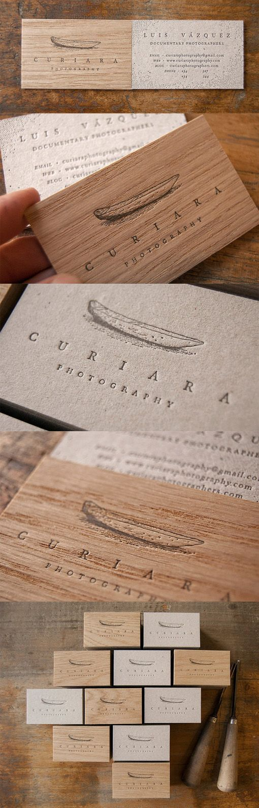 Clever Layered Letterpress Wooden Business Card Design For A Photographer: