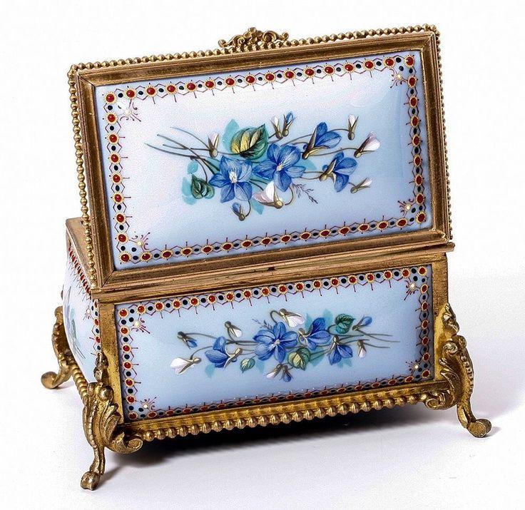Antique French Kiln-fired Enamel Jewelry Casket, Box, Etui - unsigned Tahan