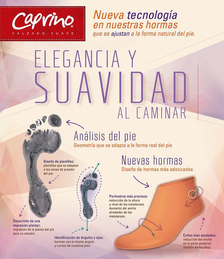 Con Calzado Caprino podrás disfrutar la suavidad al caminar, gracias a la nueva tecnología en nuestras hormas que se ajustan a la forma natural del pie.