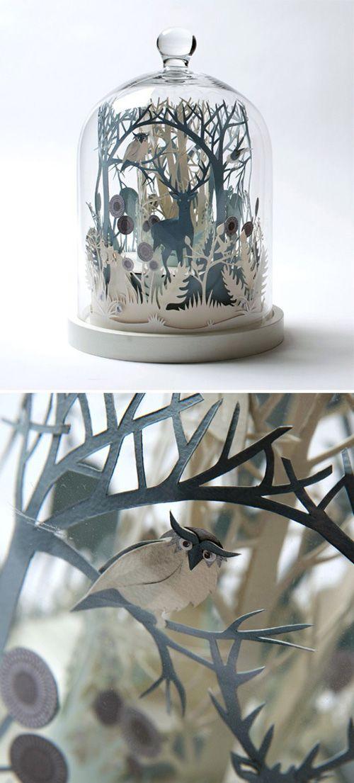 3d paper-cut in glass dome by Helen Musselwhite Pinned by www.myowlbarn.com