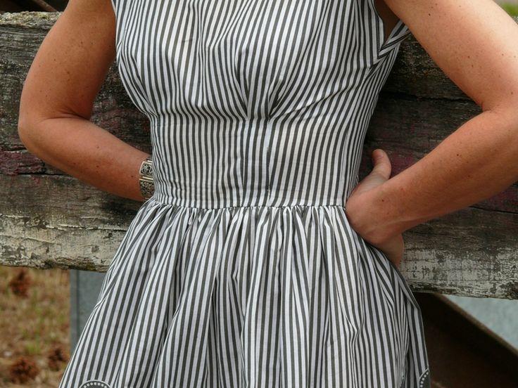 Anna dress on railroad tracks