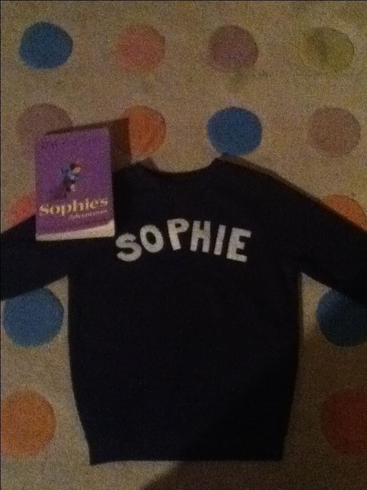 A lovely jumper for sophie's Adventures the book. Just get a navy blue school jumper from a shop and put the name sophie on it and then for the whole costume you just need that some welly boots and some legings!