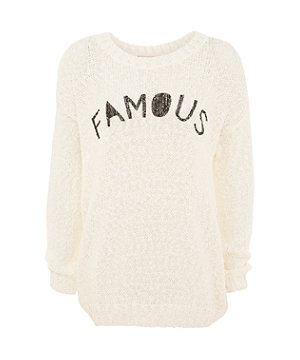 Cream Famous Slogan Popcorn Knit Jumper - New Look price: £22.99