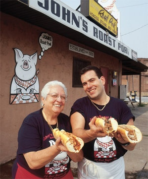 Top of the heap: John Bucci Jr. and his mother, Vonda, serve up succulent steaks at John's Roast Pork in South Philly.