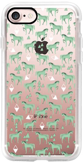 Casetify iPhone 7 Classic Grip Case - Horse Pattern - Pastel Green by elenor #Casetify