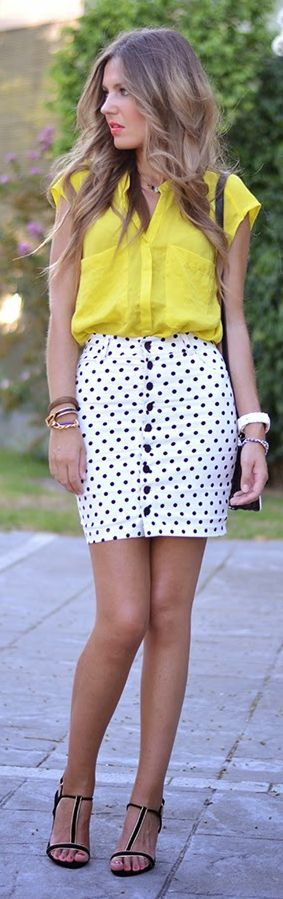 Adabay Black And White Fitted Polka Dot Button Up High Rise Mini Skirt by Mi Aventura Con La Moda