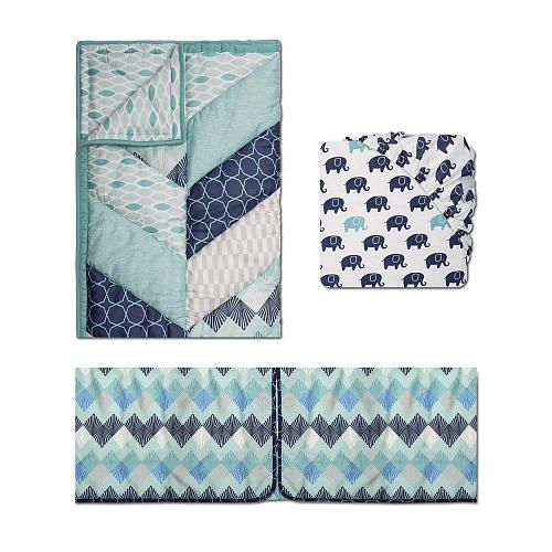 The Peanut Shell Mosaic 3-Piece Crib Bedding Set features a pieced herringbone design with geometric prints in soft, cotton sateen The combination of teal, gray, aqua and marine blue are perfect for a contemporary boy's nursery. The three piece set consists of a quilt, dust ruffle and fitted sheet. The sheet features adorable elephants in blue and aqua. Dust ruffle and crib sheet are designed to fit a standard crib and mattress. Other coordinating collection pieces each sold separately.&...