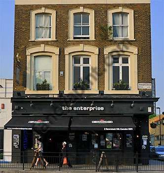 The Enterprise, Chalk Farm / Primrose Hill. Nothing special in the day time, but weekend evenings it's great fun. Loads of dancing, nice atmosphere. Fun fun.