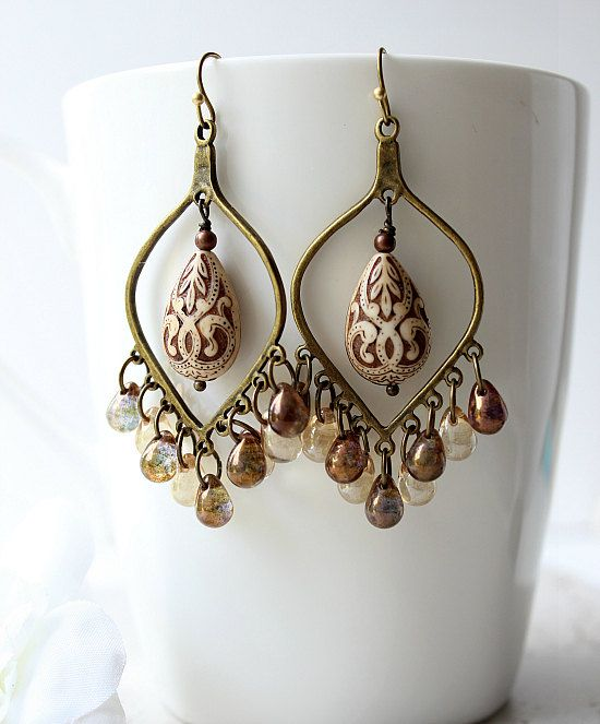 Bronze Cream Chandelier Earrings  Champagne by SoleilGypsy on Etsy, $20.00