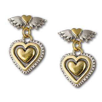 Vintage Heart Drop Earrings.  Classic winged heart with medium heart drop earrings.