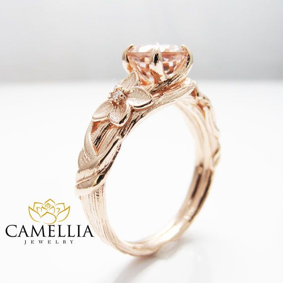 Nature Inspired Rose Gold Engagement Ring by CamelliaJewelry