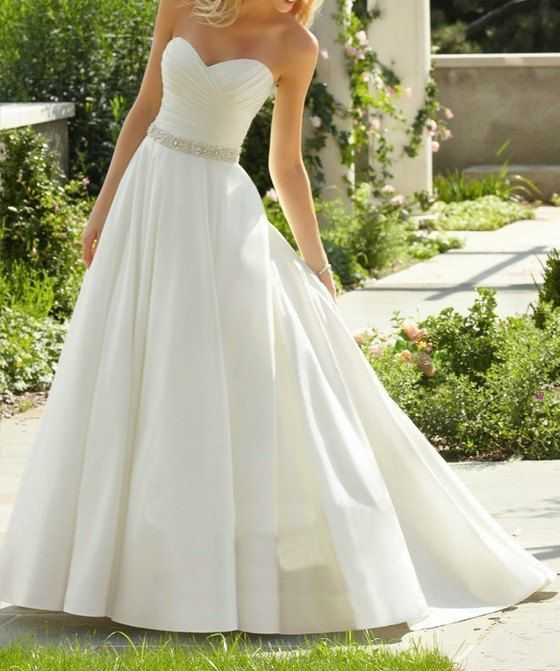 Aline wedding dress bridal gown beaded wedding dress by MJDRESS, $135.00