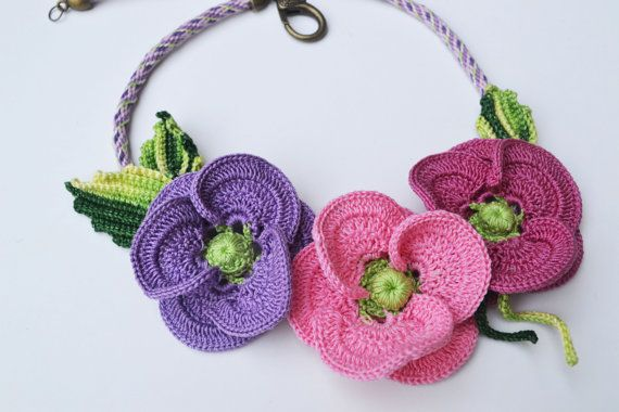 Crochet poppy statement necklace with kumihimo by FlowersbyIrene.