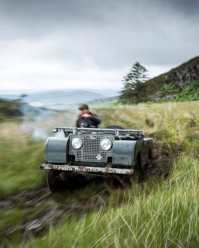 Land Rover 86 Serie One soft top in action.
