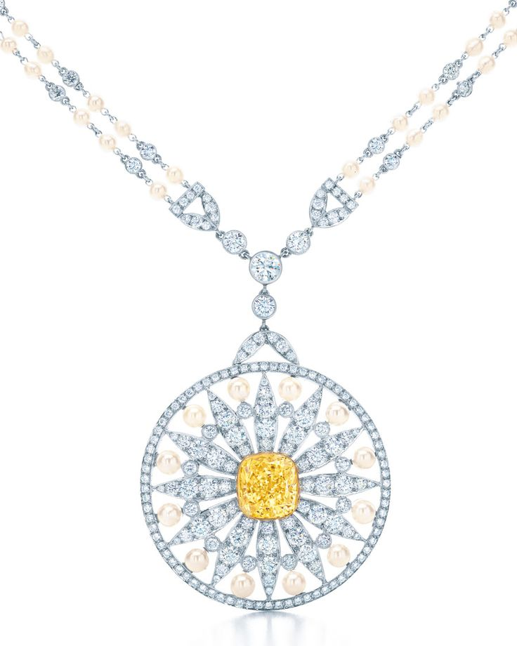 Tiffany 100 pinterest tiffany tiffany co medallion platinum pendant with a cushion cut fancy vivid tiffany yellow diamond in gold with round diamonds keshi and cultured pearls mozeypictures Image collections