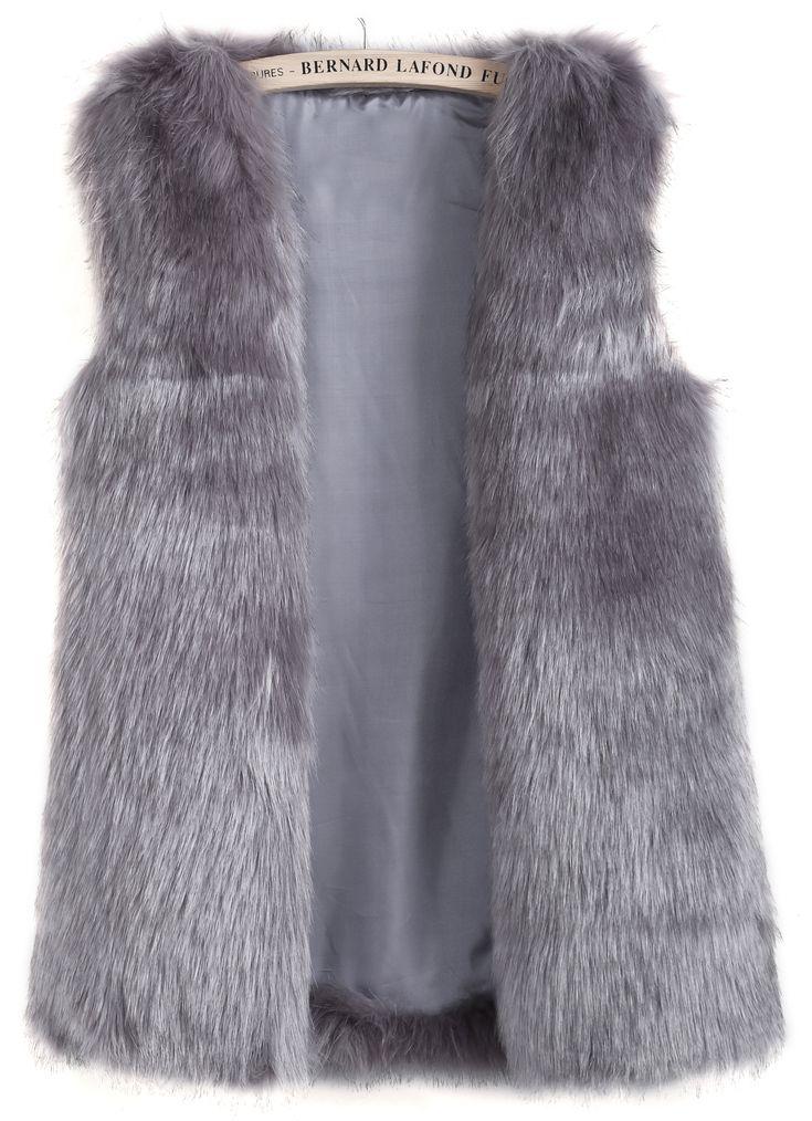 Grey Sleeveless Pockets Fox Fur Vest - Sheinside.com